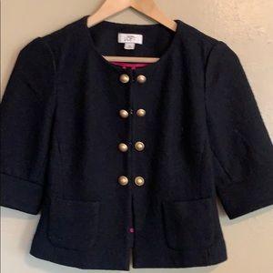 LOFT | Black Wool Military Style Blazer | XS